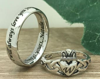 Claddagh ring set Etsy