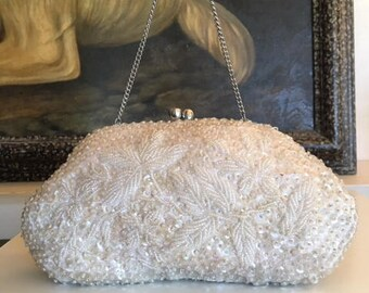 Beaded Sequin purse,formal purse, Bags ,Purses, Hong Kong, Formal, Handbag, White, Kiss Lock,converts to clutch