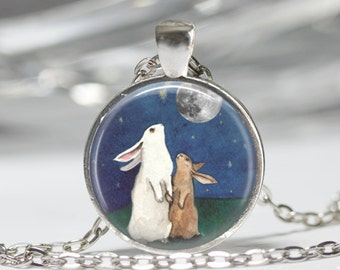 Rabbit Necklace Full Moon Jewelry I Love You to the Moon and Back Art Pendant in Bronze or Silver with Link Chain Included