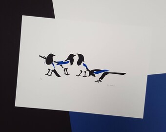 """Magpie """"Four for a Boy"""" Screenprint - Hand Printed, Limited Run - Baby Shower, New Baby, Christening or Naming Day Gift - Nursery Decor Art"""