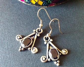 Sterling Silver Earrings, Deep red garnets, Indian Silver Earrings,Sterling Silver Jewelry by Taneesi Jewelry