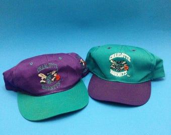Vintage Lot of 2 Charlotte Hornets SnapBack Hats 1990s Youth size
