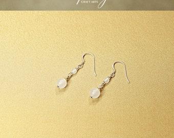 Gemstone White Jade earrings, Dangle earrings, 925 Sterling Silver hooks, Crystal earrings, Chakra jewelry, Crown Chakra, InfinityCraftArts