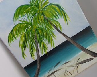 Tropical Beach Painting Palm Tree Art Original Painting 11 x 14 .5in  Acrylic Painting Beach Decor Cottage Decor