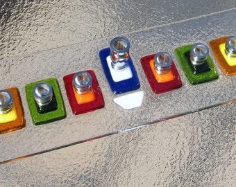 Glass Menorah, Hanukkah Menorah, Fused Glass Colorful Menorah in Red, Green, Orange, Yellow, Turquoise, Blue and White, Bat Mitzvah Gift