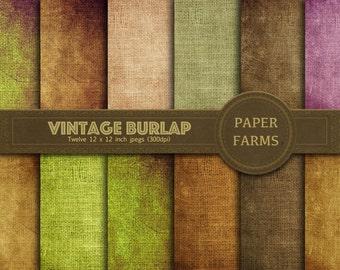 Vintage burlap digital paper, vintage linen digital paper, digital scrapbooking, grunge, instant download