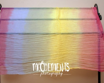 Rainbow Baby Swaddle Wrap Cloth for Newborn Photography Studio Sessions. Rainbow Head tie back band optional ROYGBIV Full Vibrant Color