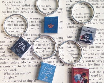 Handmade Book Keychains Key rings, Custom Miniature Book Keychain