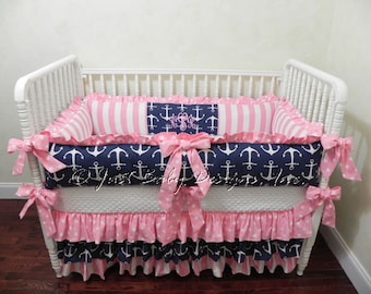 Nautical Baby Bedding Set Tori - Girl Baby Bedding, Navy Anchors with Pink Stripes and Pink Polka Dots