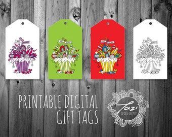 PRINTABLE Birthday Cupcake Gift Tags | Instant Digital Download to Print at Home | Original Design