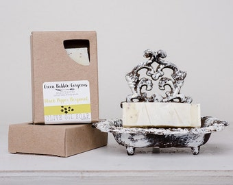 Natural Soap, Olive Oil Soap, Bergamot and Black Pepper, made with organic oils by Green Bubble Gorgeous on Etsy