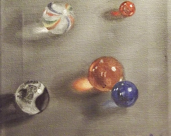 """Game of Marbles Original Oil Painting by Amy VanGaasbeck Stretch Canvas 6x6"""""""