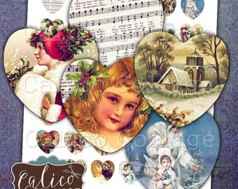 Victorian Holiday, Christmas, Collage Sheet, 25mm Heart, Digital Images, Heart Collage Sheet, Printable Download, Images for Pendants
