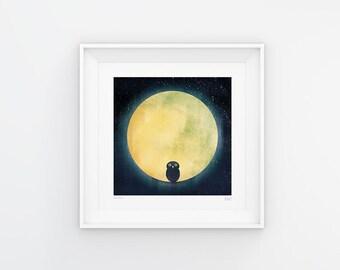 Wide Awake - Owl and the Moon Print