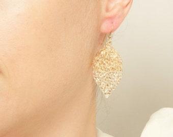 Large Gold leaf earrings Long Gold Dangle Earrings, Drop earrings gold crochet earrings, Minimalist Earring, Simple Earrings Nature Earrings