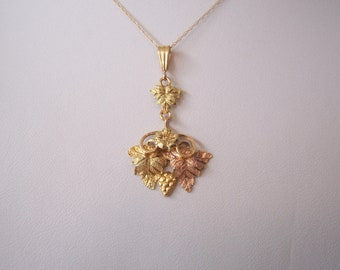 Vintage Black Hills Gold Pendant with Grapes and Leaves