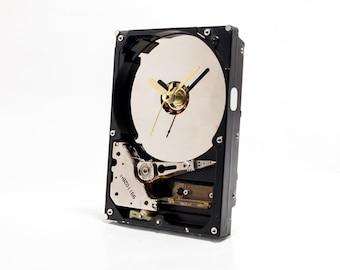 Recycled Hard Drive Clock, Boyfriend gift, Husband gift, Geek Gift, Industrial Clock, Computer Desk Clock, Unique Wall Clock, Unique Gift