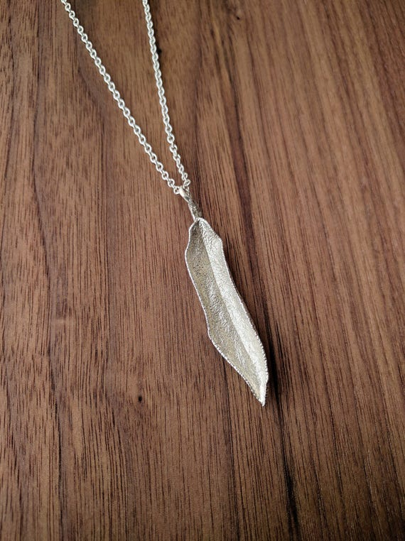 Sage Leaf Pendant - Sage Wisdom & Natural Textured Sterling Silver - Unique, Gift, Cook, Botanical, Nature, Herbs, Garden, Savory