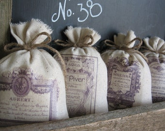 Lavender Sachets, French Farmhouse, Purple, Wedding Favors, Vintage French Perfume Labels, Bridesmaid Gifts, Set of Four