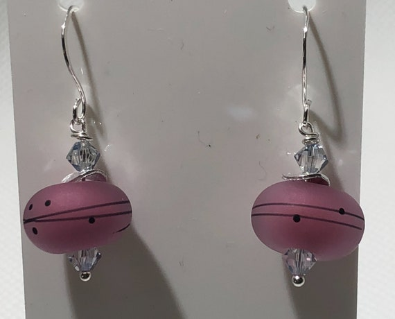 Lampwork Glass Bead Earrings Pierced Earrings Dangles Round Beads Sterling Silver Teens Women Teachers Gifts For Her OOAK Free Ship