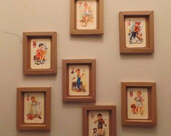 Vintage zwarte Piet speelkaarten in een handgemaakt lijstje