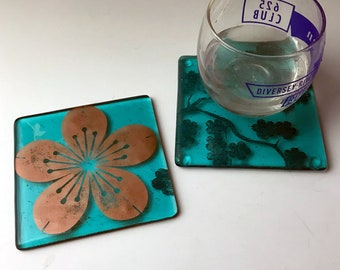 Sakura Fused Glass Coaster 2-pack, Cherry Blossom Coaster, Set of 2, Drink coaster