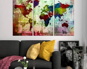 Modern wall art canvas print shop by worldmapartprint on etsy watercolor world map canvas print colourful ink splashed 3 piece world map canvas print gumiabroncs Image collections