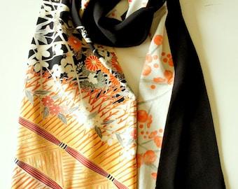Japanese silk kimono scarf | 143 | Hand made from vintage kimono fabrics