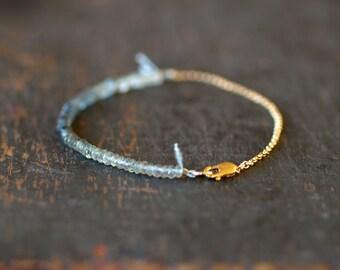 Aquamarine Ombre Beaded Bracelet, Aquamarine Bracelet, Genuine Gemstone Color Spectrum, 14k Gold Filled, Delicate Style Stacking Jewelry