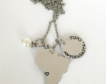 LDS Mission Name and Country Necklace Called to Serve Mormon Missionary  South America / Brazil / Chile / Argentina / Peru