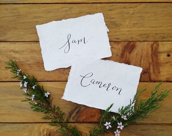 Handwritten Modern Calligraphy with Black Ink on Indie Handmade Paper Place Cards