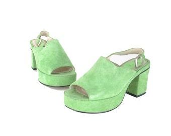 90s green suede chunky platform heels / peep toe slingback club kid shoes / 1990s heels