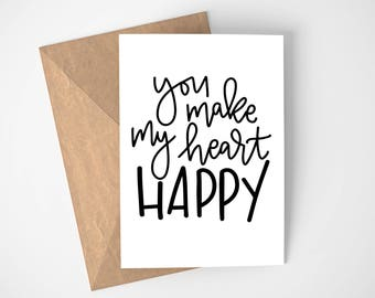 Heart Happy Greeting Card | Love Cards, Anniversary Card, Funny Love Card, Card for Her, I Love You Card, Love Notes, Card for Him