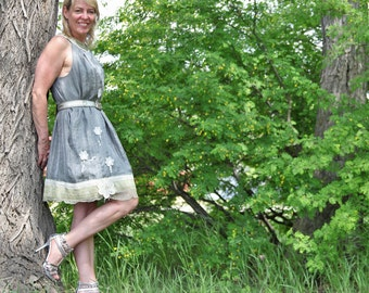 upcycled dress M - L upcycled clothing ethical fashion, dress . through the storm