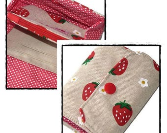 Linen Wallet, Small Wallet for her, strawberry, Card Holder, Mini Wallet, Fabric Wallet, Thin wallet, Gift for her, slim wallet, wallets