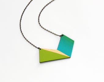 Geometric wooden polygon necklace - fresh lime green, gold, turquoise blue ombre - minimalist, modern jewelry - color blocking