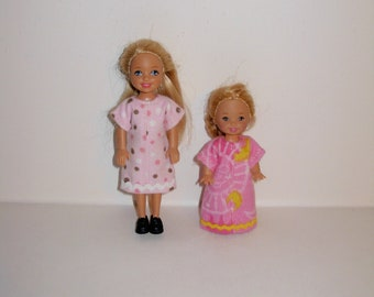 2 nightgowns for barbies' little sister Kelly or Chelsea dolls, Handmade barbie clothes