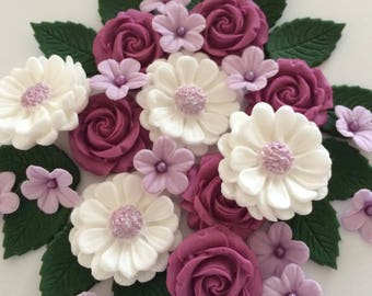 MAGENTA ROSE BOUQUET edible sugar paste flowers cake decorations toppers