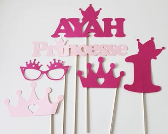 Set of 6 birthday Photobooth props - fuchsia and pink - personalized Princess
