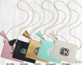 Monogrammed Purse, Personalized Tote, Crossbody Purse, Monogram Tassel Bag, Small Handbag, Vegan Leather Purse, Kendall Purse