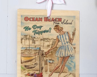 Beach House Sign Print Wood Art Painting Vintage Retro 50s Long Island New York