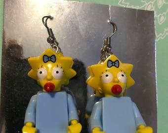Maggie simpson lego earrings