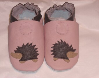Soft sole leather BABY shoes pink hedgehog pick your size