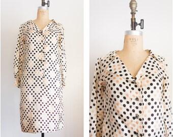 1960s polka dot silk mod dress / vintage / size medium