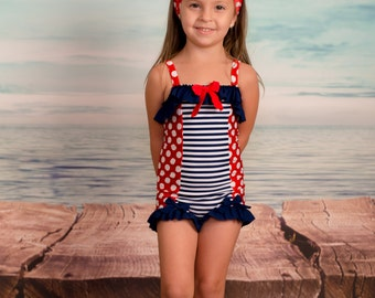 Sale! Ruffled Boyshort Swimsuit in Independence: SS16 Collection (Size 2 - 8) ***Markdown
