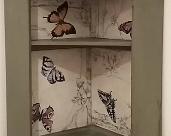 Antique, painted/ butterfly corner shelf