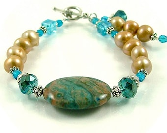 MAJOR MARKDOWN - Ocean Crazy Lace Agate, Pearl and Crystal Beaded Bracelet with Dangles