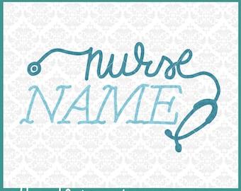 CLN0300 Nurse Frame Stethoscope Hand Lettered Nursing Name  SVG DXF Ai Eps PNG Vector INstant Download Commercial Cut File Cricut Silhouette