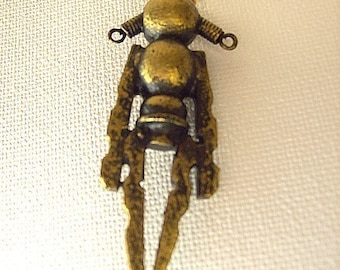 Little Girl Pigtails Robot Pendant Gold Little Girl Necklace Wood Ornament Science Fiction Dangle