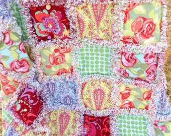 Flannel Lap Rag Quilt - Amy Butler Love Fabrics - Florals, Dots, Swirls - Flannel Quilt - Floral Rag Quilt - Gift for Her - Mother's Day